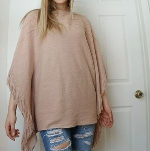 layers by lizden marvelush cable knit blush poncho